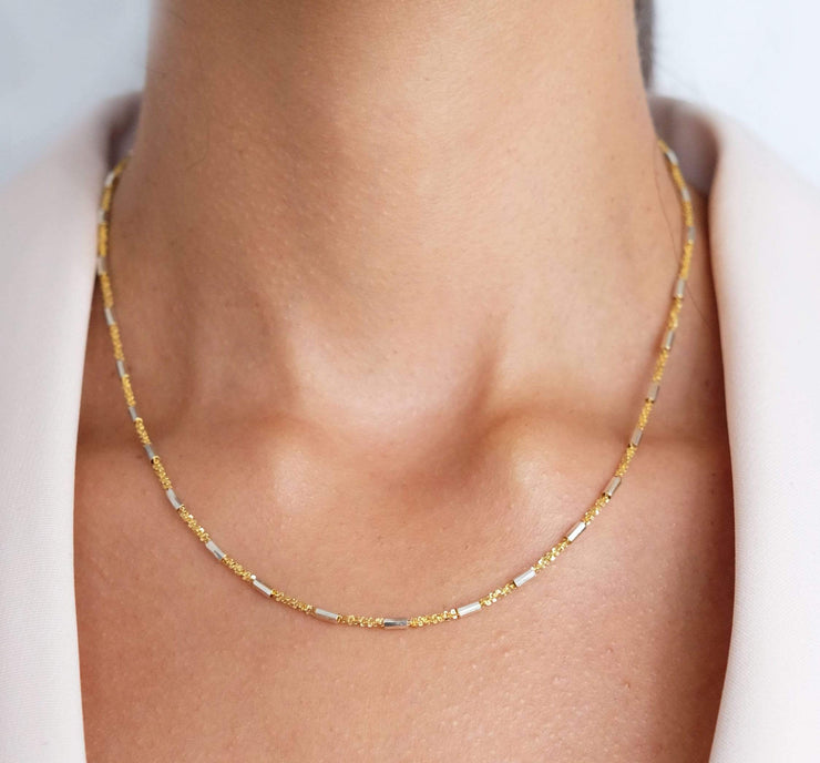 "Saffy Jewels Necklaces Bugle Chain Necklace Yellow / 16"" NGM0022030_1"