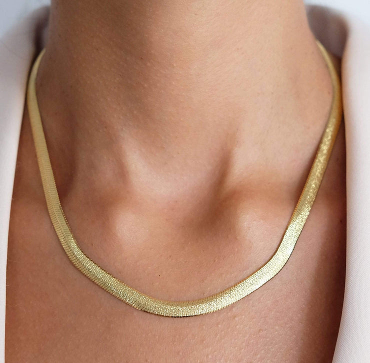 "Saffy Jewels Necklaces Carrie Herringbone Necklace Yellow / 16"" NGN03703070_1"