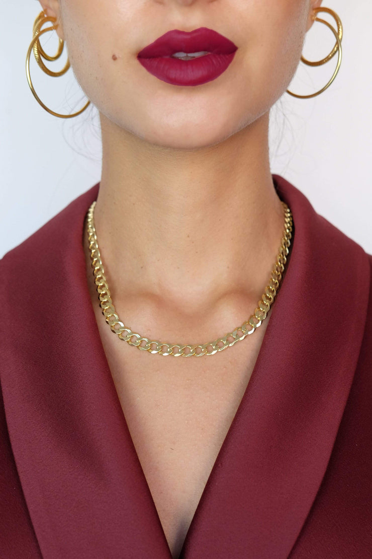 Saffy Jewels Necklaces Chunky Cut Curb Chain Necklace Yellow NGN0700400_1