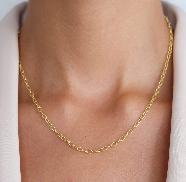 "Saffy Jewels Necklaces Glittery Oval Chain Yellow / 16"" NGN00210400_1"