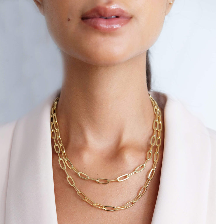 "Saffy Jewels Necklaces Layla- Chunky style Link Chain Yellow / 18"" NGN050400_2"
