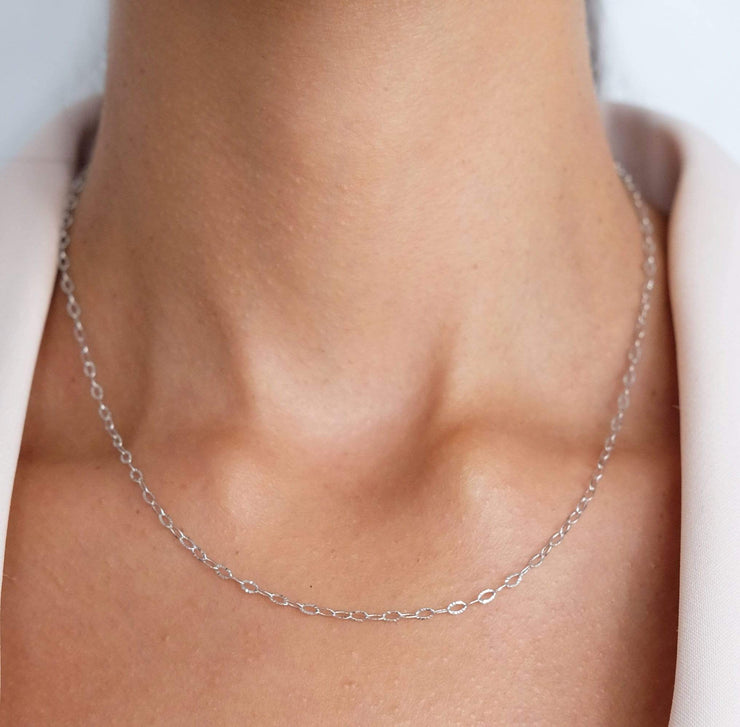 "Saffy Jewels Necklaces Mariah Dainty Chain White / Thick / 16"" NGS01205060_10"
