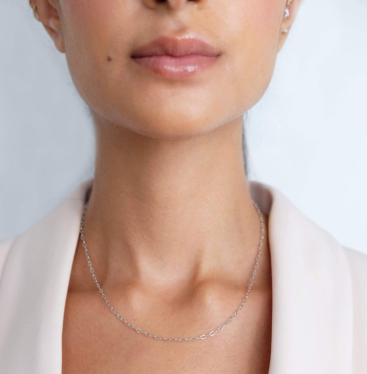 "Saffy Jewels Necklaces Mariah Dainty Chain White / Thin / 16"" NGS01205060_7"