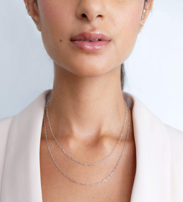 "Saffy Jewels Necklaces Mariah Dainty Chain White / Thin / 18"" NGS01205060_8"