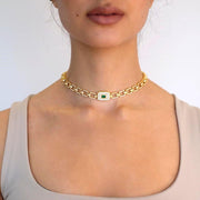 "Saffy Jewels Necklaces Ooogee Link Necklace Green / 14"" WGG08260"