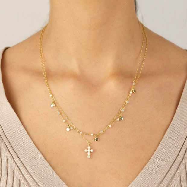 Saffy Jewels Necklaces Pearl Cross Necklace