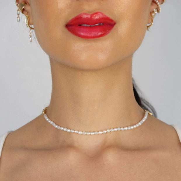 "Saffy Jewels Necklaces Pearl x Cuban link chain Necklace Yellow / 15"" NGP037020703_1"