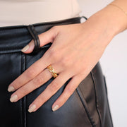 Saffy Jewels Rings Link Gold Ring 6 / Yellow RGN04120_1