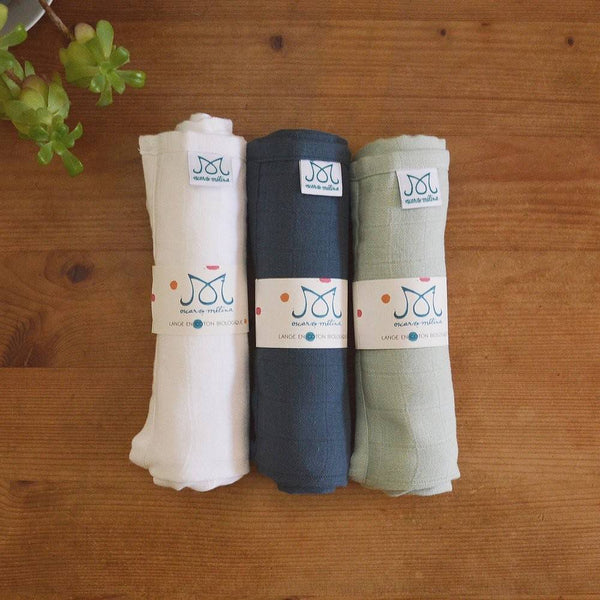 Lot de 3 langes assortis en coton biologique