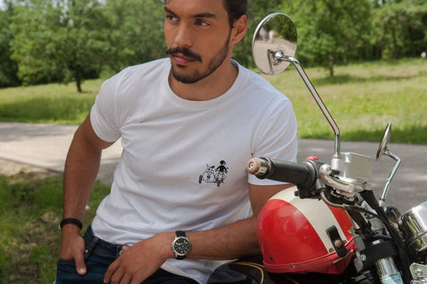 T-shirt en coton bio Side-car et teckel