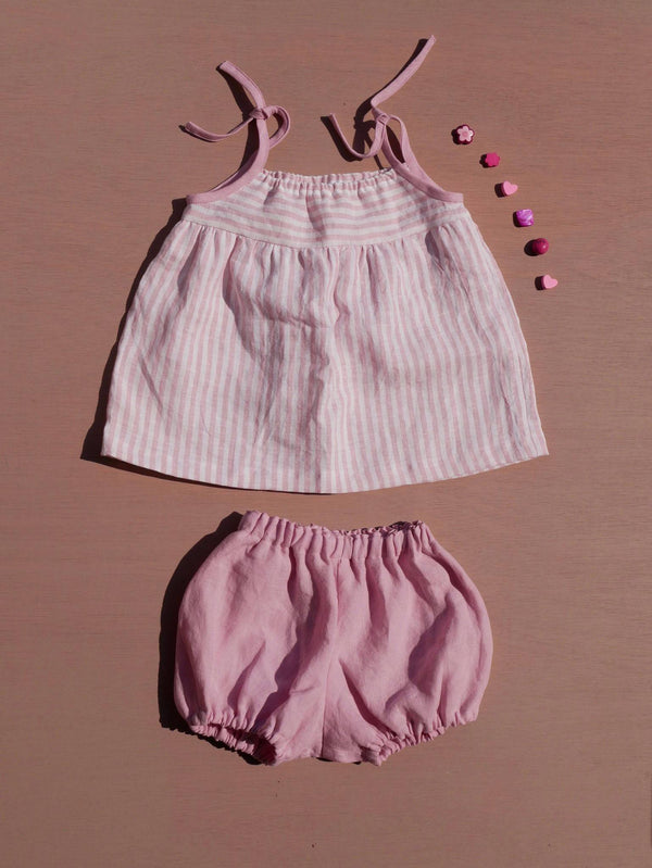 Top & bloomer LILAS lin rose - 12M