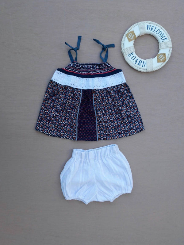 Top & bloomer LILAS marine - 12M