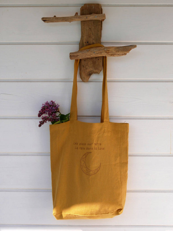 Tote bag CANOPUS lin moutarde brodé