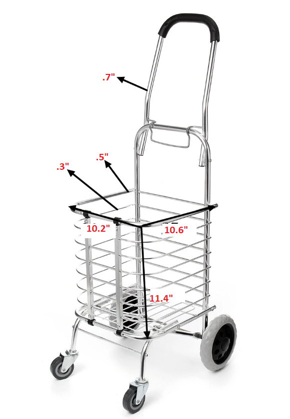 FOLDACART™ Folding Grocery Shopping Cart Heavy Duty Personal Rolling Utility Cart With Wheels