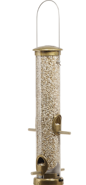 Aspects 395 Bird Seed Tube Feeder Station Medium Squirrel Resistant Antique Brass Quick Clean Base