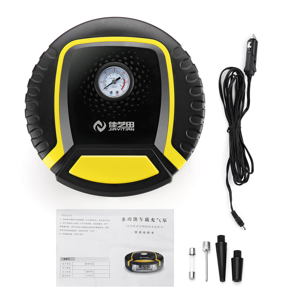 SAFETFIRST™ Auto Tire Inflator Air Pump  12V  with Motorcycle lighting