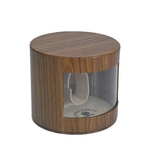 round wooden watch box with glass window