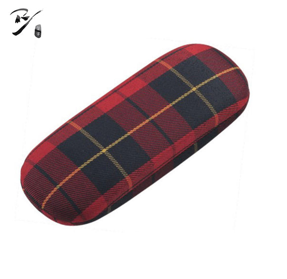 Classic hard shell glasses case with check pattern