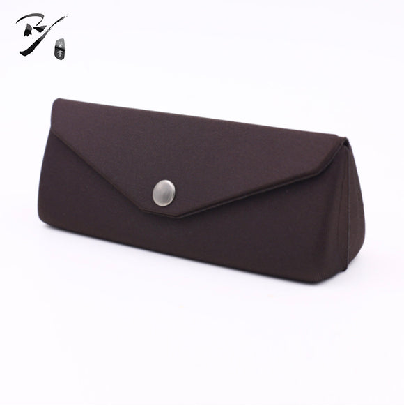 Triangular EVA glasses case with snap fastener and flap