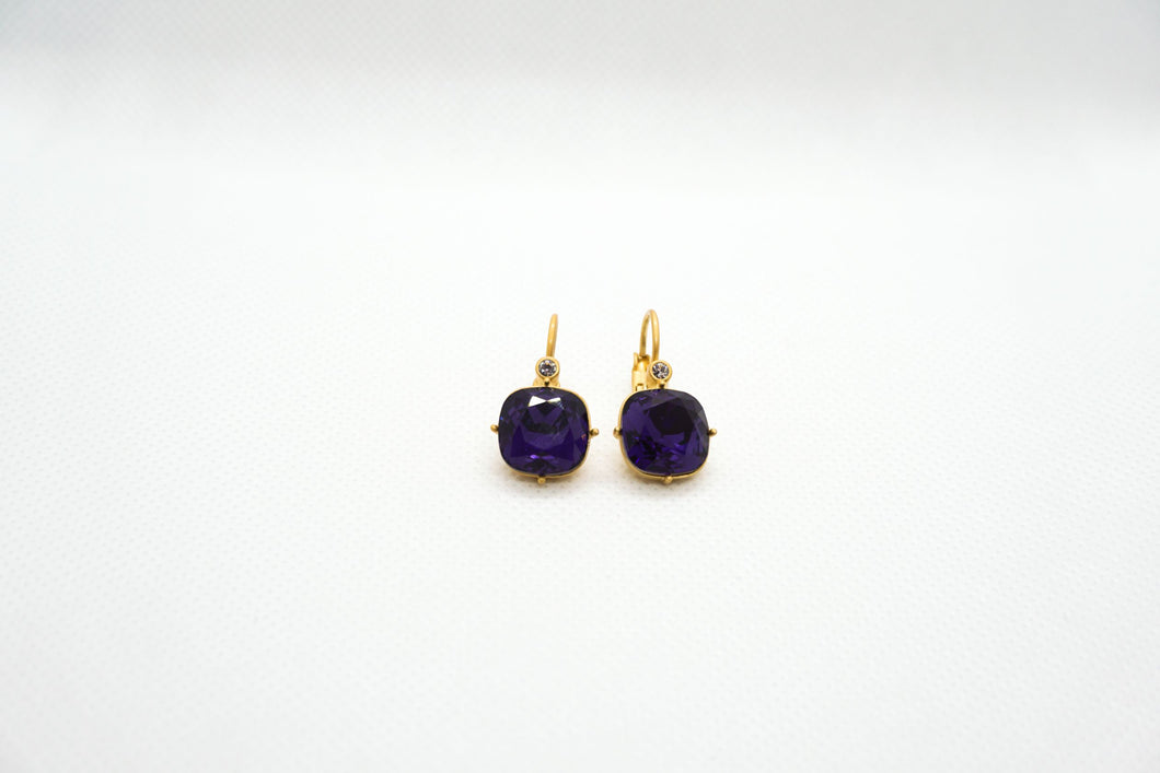 Farmhouse Purple Diamond Earrings