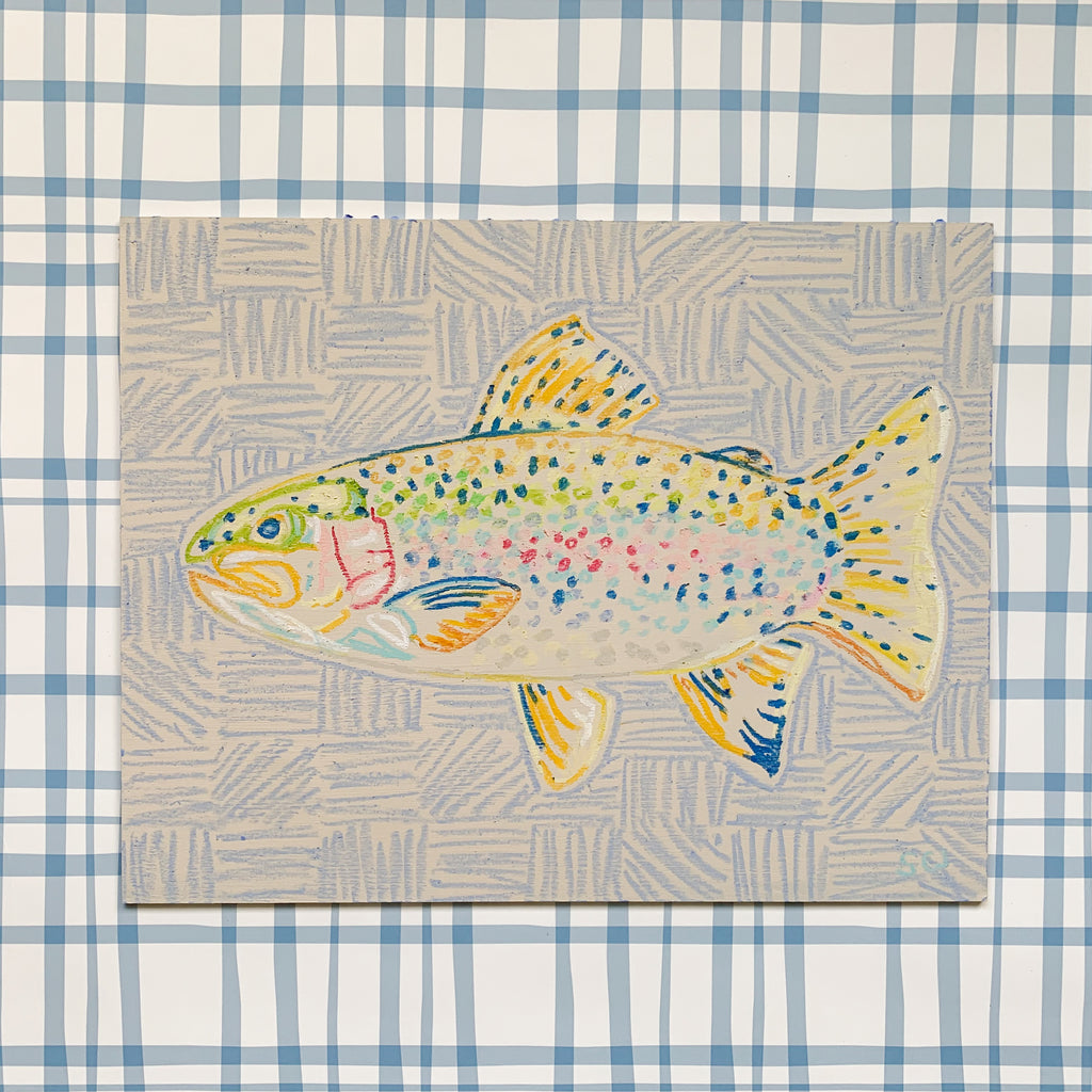 Rainbow Trout on Light Blue (Facing Left) - 11 x 14