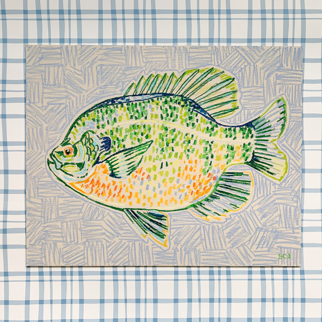 Bluegill on Light Blue (Facing Left) - 16 x 20