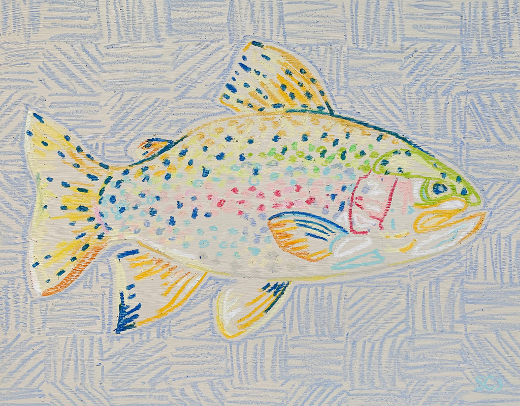 Rainbow Trout on Light Blue (Facing Right) - 11 x 14