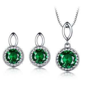 Elegant Created Emerald/Sapphire Earrings and Necklace Jewelry Sets