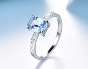 Elegant Created Sky Blue Topaz Rings and Earrings Fine Jewelry Sets