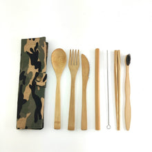 Load image into Gallery viewer, Bamboo Flatware Set with Tooth Brush