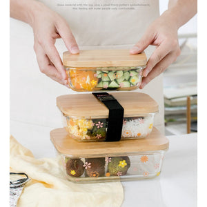 Glass Food Storage Container with Bamboo Wood Cover
