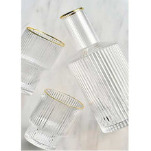 이미지를 갤러리 뷰어에 로드 , Stripped crystal glass cup with gold inlay + bottle