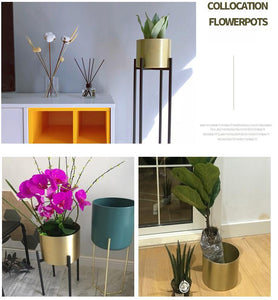 Floor Standing Flower Vase with Metal Standing Shelf  With Draining Hole