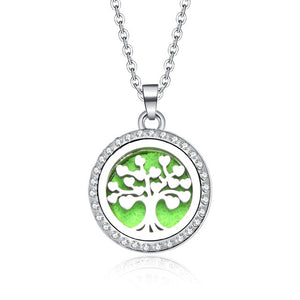 10 Styles of Essential Oil Diffuser Locket Necklace with Rhinestone surrounded.