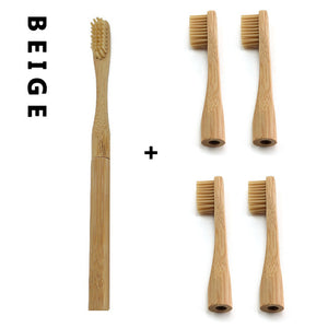 Bamboo Toothbrush with Plug-in Replaceable Brush Heads