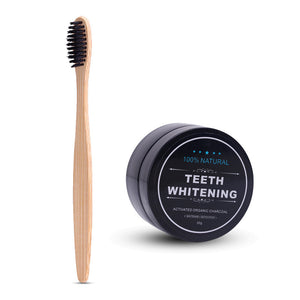 Activated Organic Charcoal Teeth whitening Powder + Bamboo Tooth Brush Set
