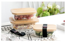 Load image into Gallery viewer, Glass Food Storage Container with Bamboo Wood Cover