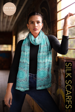 Load image into Gallery viewer, Pattern in Turquoise scarf