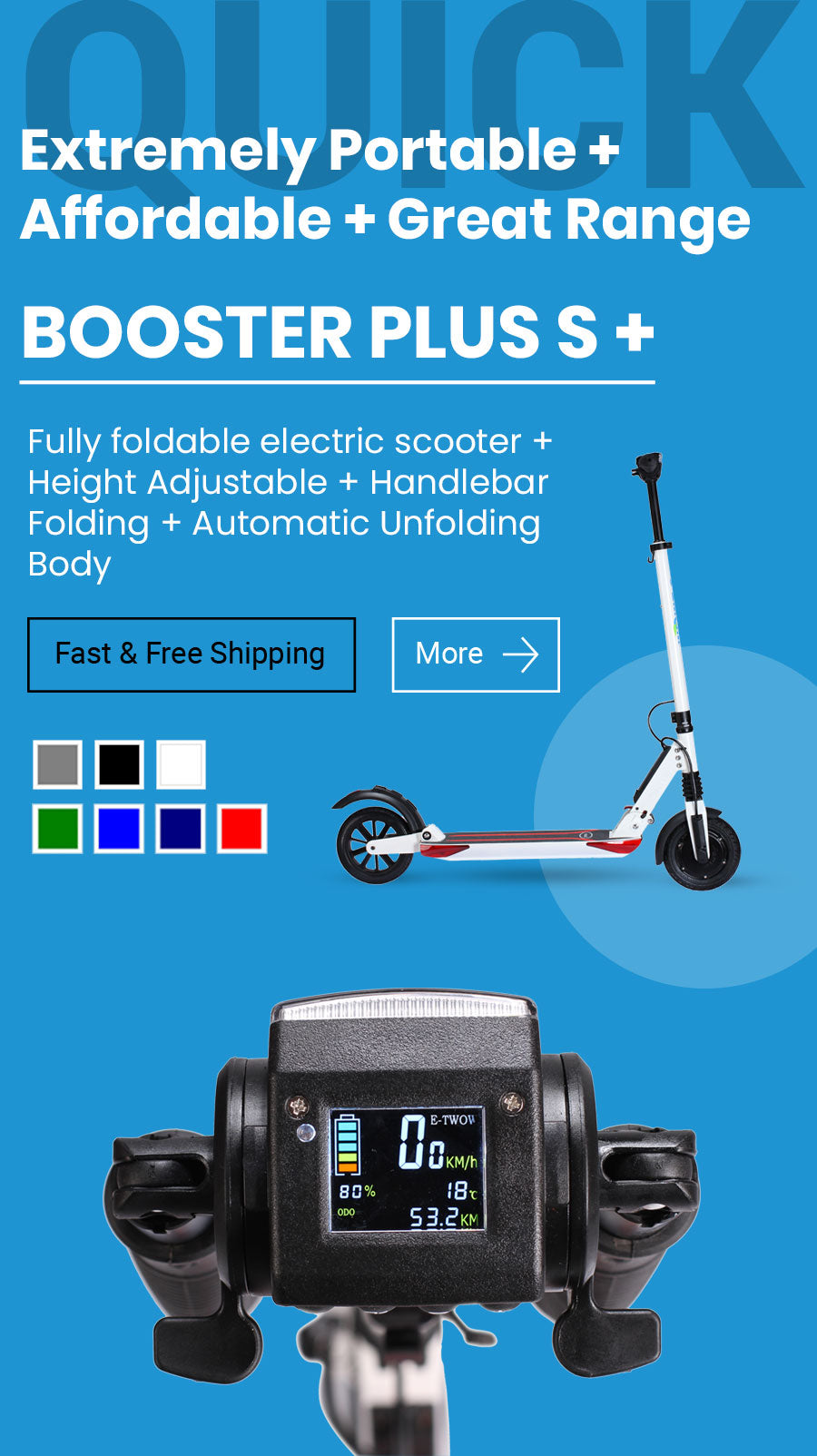 Portable and easy to store electric scooter in stock.