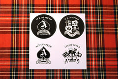 "4 Round Stickers ""AOS"" assorted"