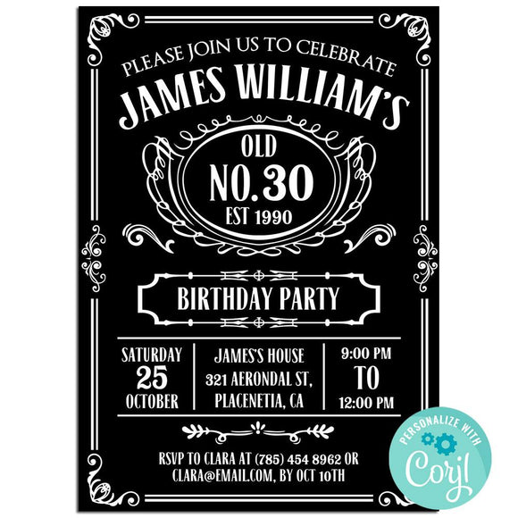 30th Birthday Party Invitation,  Vintage Whiskey Theme Birthday Party Invitation Corjl
