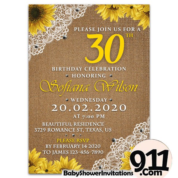 30th Birthday Party Invitation Ak 26032020, Personalize-Invitation | BabyShowerInvitations911.com
