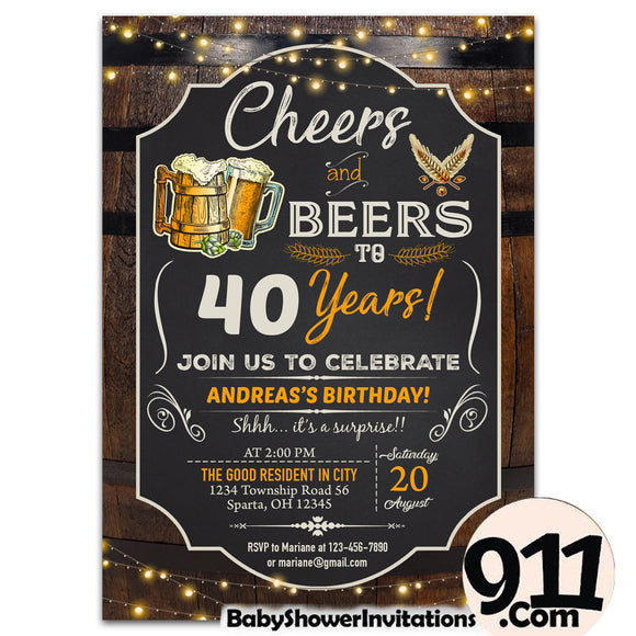 40th Birthday Party Invitation Ak 26032020, Personalize-Invitation | BabyShowerInvitations911.com