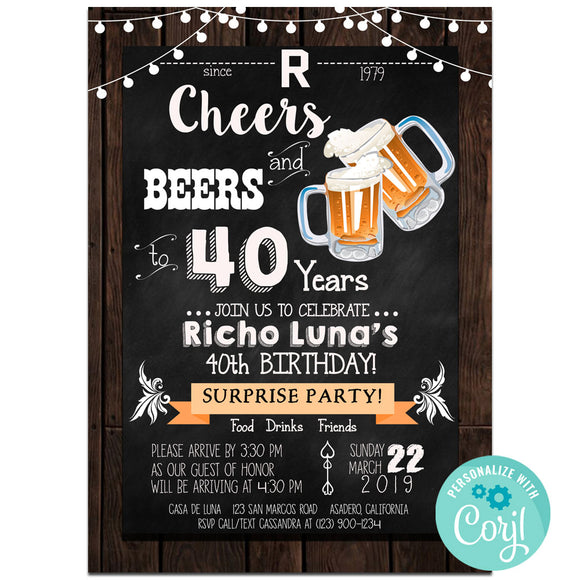 40th Birthday Party Invitation, Cheers And Beers Theme Birthday Party Invitation Corjl- babyshowerinvitations911.com