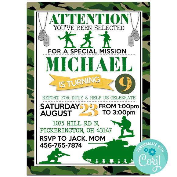 Army Birthday Invitation Invitation, Army Theme Birthday Party Invitation, Army Birthday Party Corjl- babyshowerinvitations911.com