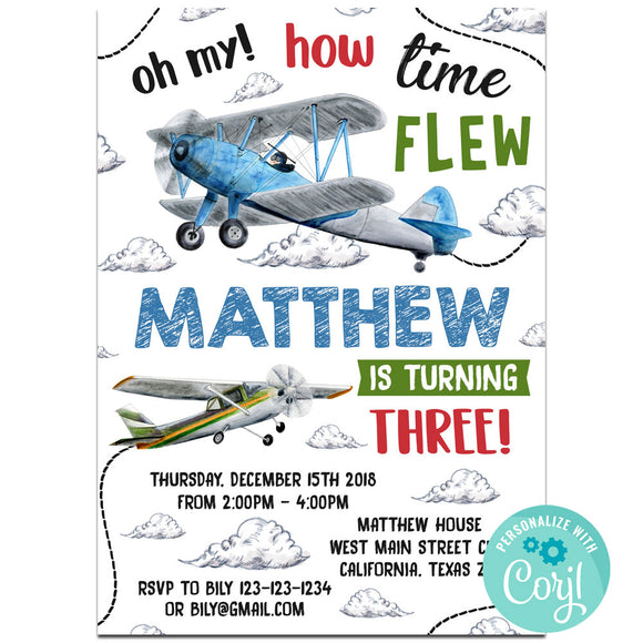 Airplane Invitations, Airplane Theme Birthday Party Invitation  Corjl- babyshowerinvitations911.com