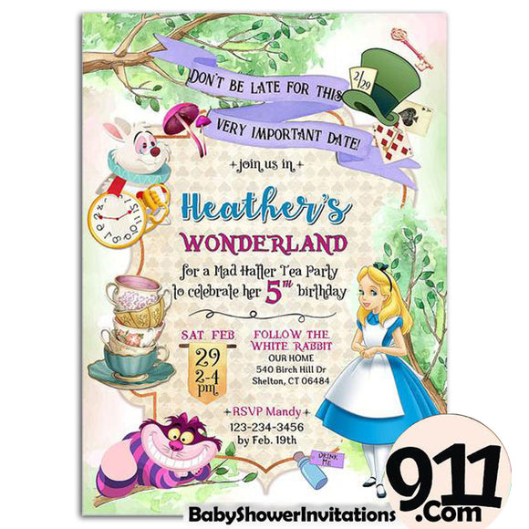 Alice Birthday Party Invitation Alice Theme Birthday Party Invitation A1 - babyshowerinvitations911.com