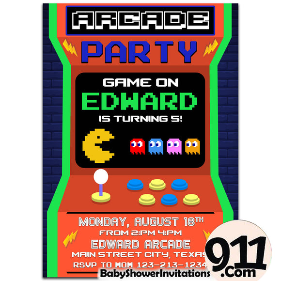 Arcade Birthday Invitation Arcade invitation Gamer invitation Retro Arcade AWR1 - babyshowerinvitations911.com