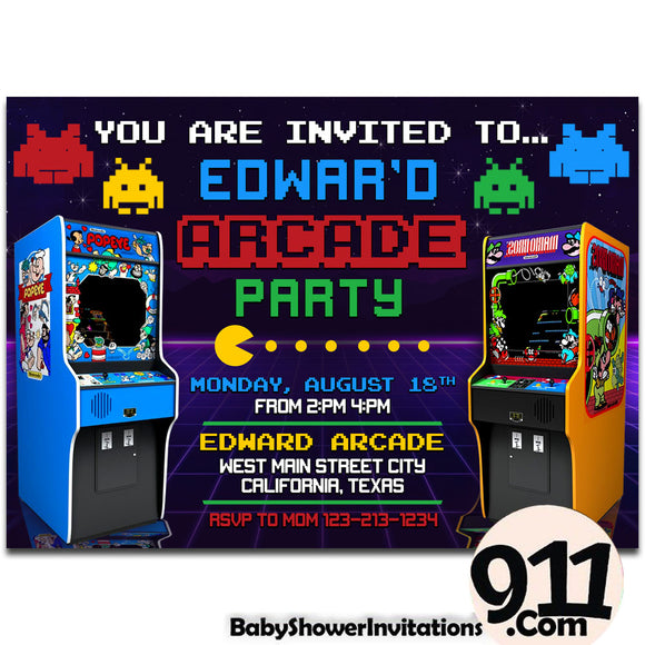Arcade Birthday Invitation Arcade invitation Gamer invitation Retro Arcade AWR4 - babyshowerinvitations911.com