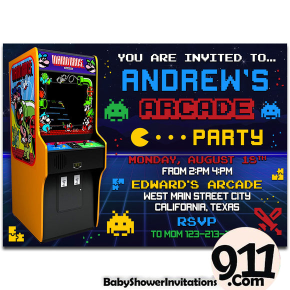Arcade Birthday Invitation Arcade invitation Gamer invitation Retro Arcade AWR5 - babyshowerinvitations911.com